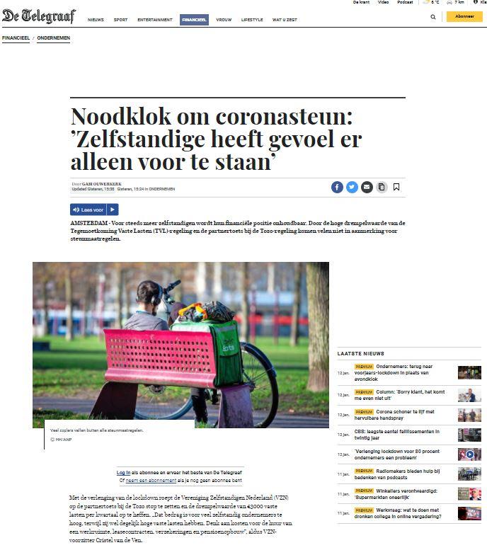 Noodklok om coronasteun. VZN in De Telegraaf