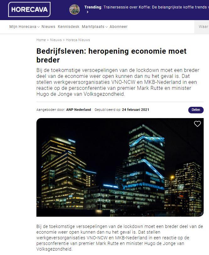 Zelfstandigen in onzekerheid. VZN op Horecava.nl
