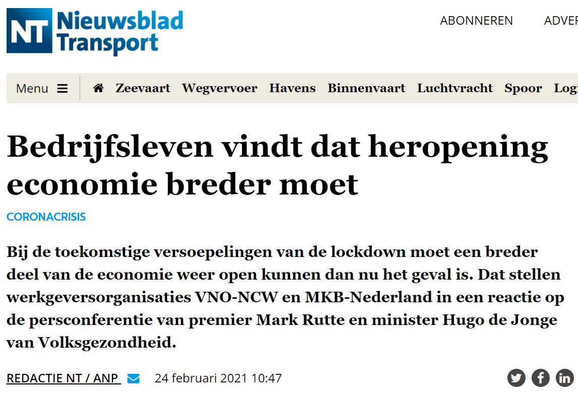 Geef ondernemers duidelijkheid. VZN in Nieuwsblad Transport