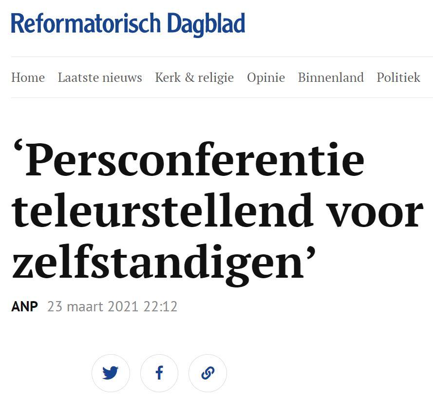 Zelfstandigen blijven een blinde vlek. VZN in Reformatorisch Dagblad