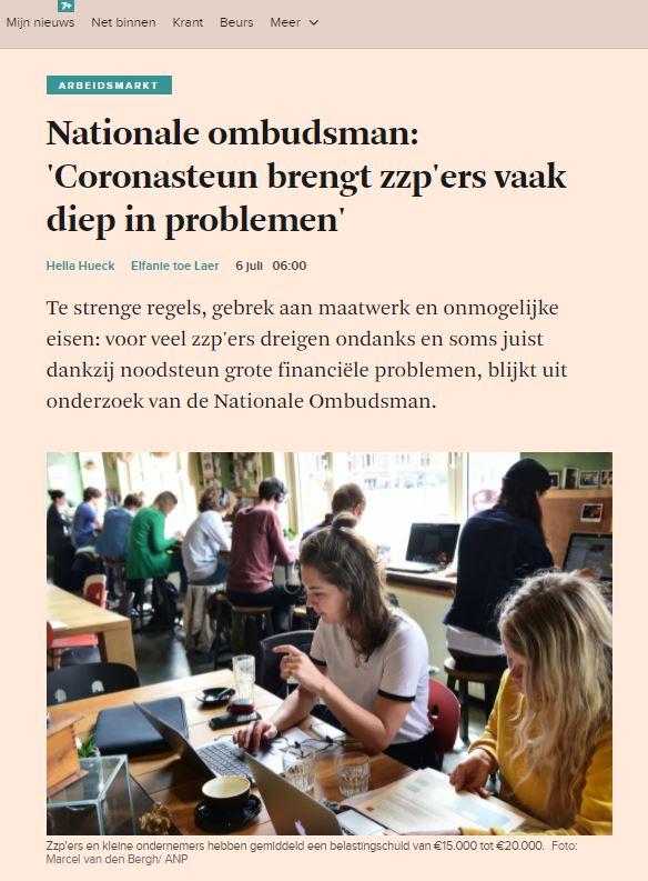 Problemen en ongelijkheid bij coronasteun zelfstandigen. VZN in Financieele Dagblad