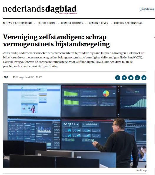 Geef zelfstandigen kans buffer weer op te bouwen. VZN in Nederlands Dagblad