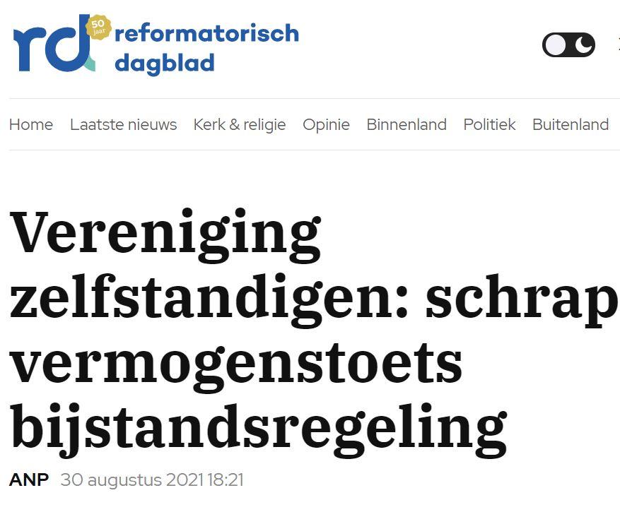 Nu beter kijken naar effectiviteit van steun. VZN in Reformatorisch Dagblad
