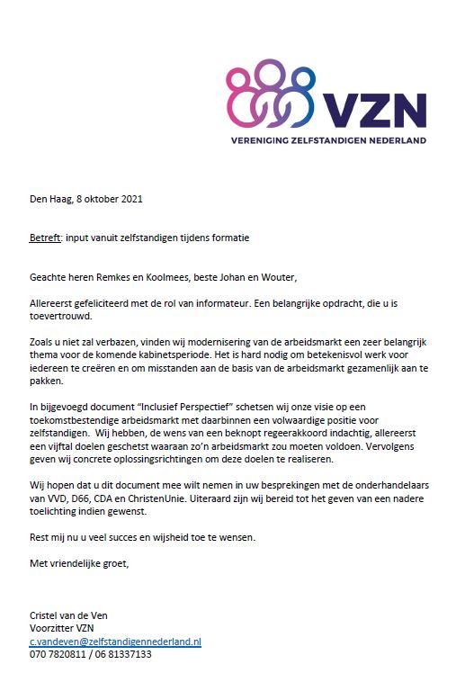 Brief van VZN aan de informateurs